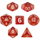 Brybelly 7 Die Polyhedral Dice Set in Velvet Pouch- Translucent Red