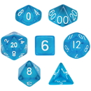 Brybelly 7 Die Polyhedral Dice Set in Velvet Pouch- Translucent Blue