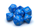 Brybelly 7 Die Polyhedral Dice Set in Velvet Pouch- Opaque Blue