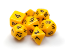 Brybelly 7 Die Polyhedral Dice Set in Velvet Pouch - Opaque Yellow