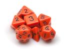 Brybelly 7 Die Polyhedral Dice Set in Velvet Pouch- Opaque Orange