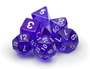 Brybelly 7 Die Polyhedral Dice Set in Velvet Pouch-Translucent Purple