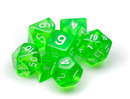 Brybelly 7 Die Polyhedral Dice Set in Velvet Pouch- Translucent Green