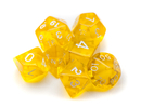 Brybelly 7 Die Polyhedral Set in Velvet Pouch-Translucent Yellow