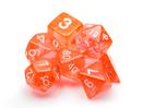 Brybelly 7 Die Polyhedral Set in Velvet Pouch-Translucent Orange