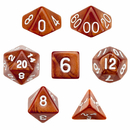 Brybelly 7 Die Polyhedral Dice Set in Velvet Pouch - Copper Sands