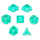 Brybelly 7 Die Polyhedral Set in Velvet Pouch, Cloud Drop