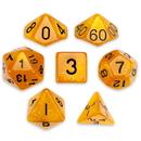 Brybelly 7 Die Polyhedral Set in Velvet Pouch, Dwarven Brandy