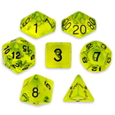 Brybelly 7 Die Polyhedral Set in Velvet Pouch, Boiled Bile