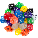 Brybelly 25 Pack of Random D10 Polyhedral Dice in Multiple Colors