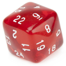 Brybelly 24 Sided Translucent Red with White Numbers Polyhedral Dice