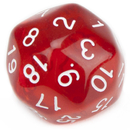 Brybelly 30 Sided Translucent Red with White Numbers Polyhedral Dice