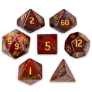 Brybelly Set of 7 Handmade Stone Polyhedral Dice, Poppy Jasper