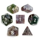 Brybelly Set of 7 Handmade Stone Polyhedral Dice, Indian Agate