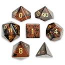 Brybelly Set of 7 Handmade Stone Polyhedral Dice, Mahogany Obsidian