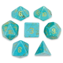 Brybelly Set of 7 Handmade Stone Polyhedral Dice, Turquoise