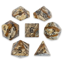 Brybelly Set of 7 Handmade Stone Polyhedral Dice, Picture Jasper