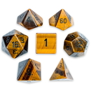Brybelly Set of 7 Handmade Stone Polyhedral Dice, Tiger's Eye