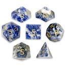 Brybelly Set of 7 Handmade Stone Polyhedral Dice, Sodalite