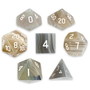 Brybelly Set of 7 Handmade Stone Polyhedral Dice, Gray Agate