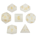 Brybelly Set of 7 Handmade Stone Polyhedral Dice, White Jade