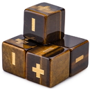 Brybelly Handmade Stone Fudge Dice, Tiger's Eye, 4-pack