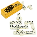 Brybelly Set of 28 Double Six Dominoes with Brass Spinners