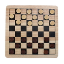 Brybelly All Natural Wood 2-in-1 Checkers and Tic-Tac-Toe Set