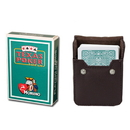 Brybelly Dark Green Modiano Texas, Poker-Jumbo Cards w/ Leather Case