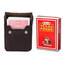 Brybelly Red Modiano Texas, Poker-Jumbo Cards w/ Leather Case
