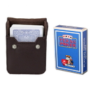 Brybelly Light Blue Modiano Texas, Poker-Jumbo Cards w/ Leather Case