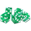 Brybelly (5) New Green 19mm Grd A Precision Dice w/Matching Serial #s