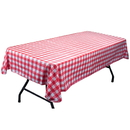 Brybelly Red and White Vinyl Table Cloth with Flannel Backing