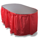 Brybelly 14' Red Reusable Plastic Table Skirt, Extends 20'+