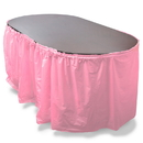 Brybelly 14' Pink Reusable Plastic Table Skirt, Extends 20'+