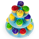 Brybelly Blue Polka Dot 3 Tier Cupcake Stand, 14in Tall by 12in Wide