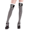 Brybelly Stripe Skull and Crossbones Thigh High Costume Tights