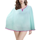 Brybelly Women's Beach Poncho with Pom-Pom Trim, Mint Raspberry