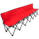 Brybelly 8-Foot Portable Folding 6 Seat Bench with Back, Red