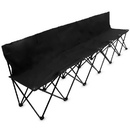 Brybelly 8-Foot Portable Folding 6 Seat Bench with Back, Black