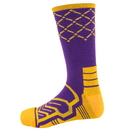 Brybelly Large Basketball Compression Socks, Purple/Yellow