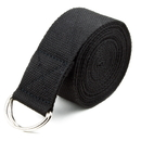 Brybelly Black 8' Cotton Yoga Strap with Metal D-Ring