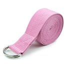 Brybelly Pink 8' Cotton Yoga Strap with Metal D-Ring