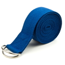 Brybelly Blue 10' Extra-Long Cotton Yoga Strap with Metal D-Ring