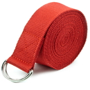 Brybelly Red 10' Extra-Long Cotton Yoga Strap with Metal D-Ring