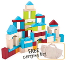 Brybelly 100 Piece Wooden Block Set with Carrying Bag