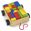 Brybelly Wooden Wonders Take-Along Building Block Wagon