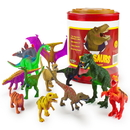 Brybelly Set of 12 Large 7in Dinosaur Assortment with Storage Drum