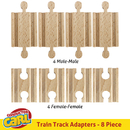 Brybelly Set of 8 Male-Male Female-Female Wooden Train Track Adapters