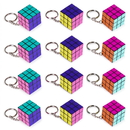 Brybelly 12 Pack - 80s Retro Puzzle Cube Keychains